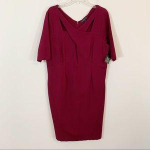 Lane Bryant • Burgundy Cut Out Ponte Dress Size 18